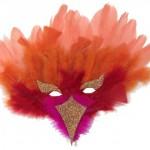 masque oiseau à plumes