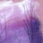 paysage brumeux violet