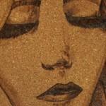 """""""visage"""" pyrogravure sur liège"""