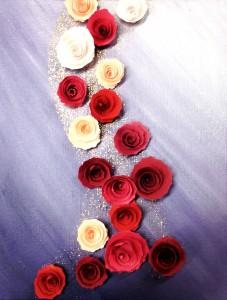 toile avec roses en papier