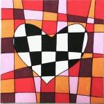 carte coeur à carreaux