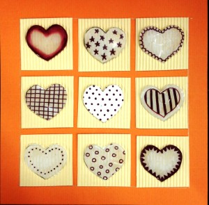 carte 9 cœurs en plastique fou